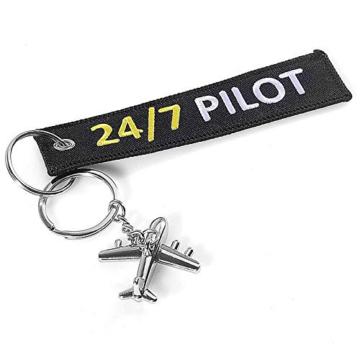 DonJordi 24/7 Pilot Schlüsselanhänger mit kleinem Flugzeug - Anhänger aus Stoff für alle Piloten - 2