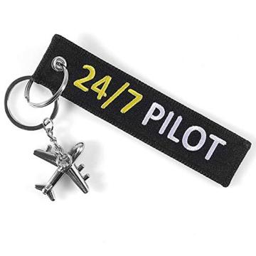DonJordi 24/7 Pilot Schlüsselanhänger mit kleinem Flugzeug - Anhänger aus Stoff für alle Piloten - 3