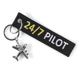 DonJordi 24/7 Pilot Schlüsselanhänger mit kleinem Flugzeug - Anhänger aus Stoff für alle Piloten - 1