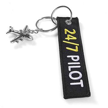 DonJordi 24/7 Pilot Schlüsselanhänger mit kleinem Flugzeug - Anhänger aus Stoff für alle Piloten - 4