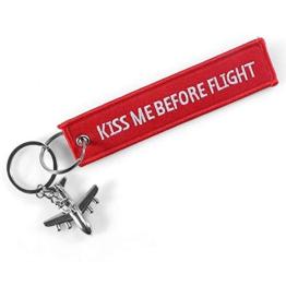 DonJordi Kiss me Before Flight Schlüsselanhänger mit kleinem Flugzeug - Anhänger aus Stoff für alle Piloten & Flugbegleiter - 1