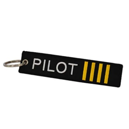 DonJordi Pilot Schlüsselanhänger Anhänger aus Stoff für Piloten und Flugkapitäne - Mit 4 Streifen - 1