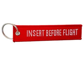 DonJordi Schlüsselanhänger INSERT BEFORE FLIGHT - Das Geschenk für Piloten, Motorradfahrer, Biker & Flugbegleiter - 1