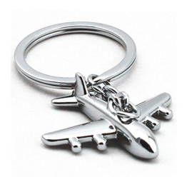 DonJordi Schlüsselanhänger mit kleinem silbernen Flugzeug für die große Reise - Geschenk für Piloten, Flugbegleiter und Reisefreunde - 1