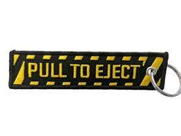 DonJordi Schlüsselanhänger PULL TO EJECT - Anhänger mit gesticktem Schriftzug für Piloten, Biker & Motorradfahrer - 1