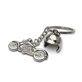 DonJordi Schlüsselanhänger silber Chopper Motorrad mit kleinem Helm - Das Geschenk für Biker & Motorradfahrer I Harley - 1