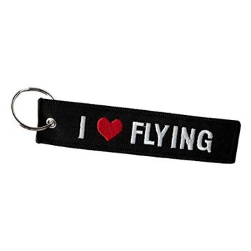 DonJordi Schlüsselanhänger I LOVE FLYING - Für alle Piloten Anhänger aus Stoff - Ideale Geschenk für Flugbegleiter - 1