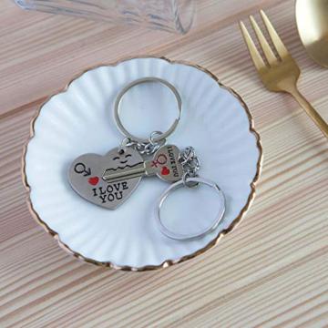 DonJordi Schlüsselanhänger Paare I love you aus Metall - 2 teiliges Set als Geschenk- Der Schlüssel zum Herzen - 2