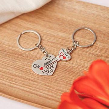 DonJordi Schlüsselanhänger Paare I love you aus Metall - 2 teiliges Set als Geschenk- Der Schlüssel zum Herzen - 3
