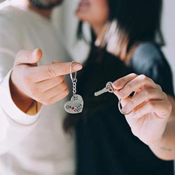 DonJordi Schlüsselanhänger Paare I love you aus Metall - 2 teiliges Set als Geschenk- Der Schlüssel zum Herzen - 4