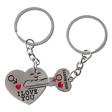 DonJordi Schlüsselanhänger Paare I love you aus Metall - 2 teiliges Set als Geschenk- Der Schlüssel zum Herzen - 1