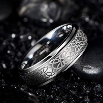 DonJordi Wolfram Ring Herren/Damen Keltisch 8mm mit keltischen Knoten Design für Hochzeit, Verlobungsring, Geburtstag und als Ehering - Rock your style! (52 (16.6)) - 5
